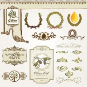 Natural food labels and ornament vector 02 free