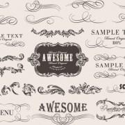 Retro calligraphic frame labels decor vector 01 free