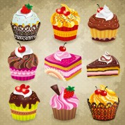 Tasty cupcakes vector icons design free