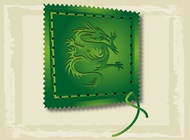 Asian Dragon Stamp vector free
