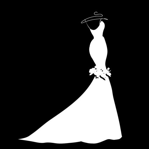 Beautiful Wedding Dress Silhouette Design Vector 01 Free