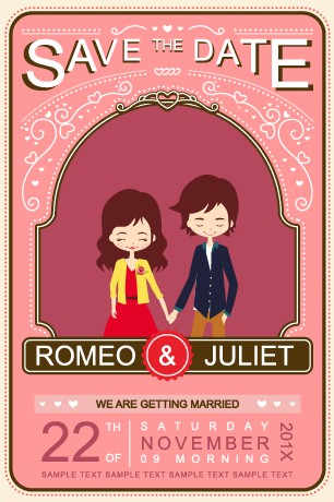 Cute Cartoon Style Wedding Invitation Card Vector 03 Free