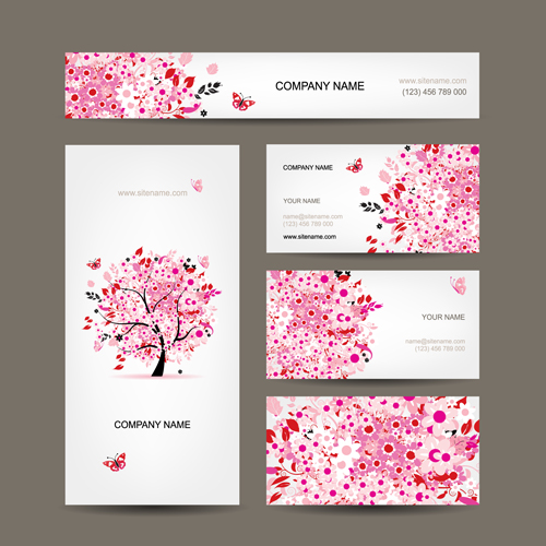 floral tree business card design vector free