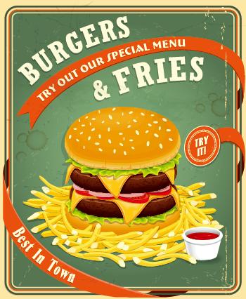 retro vintage fast food poster design vector 03 free free download