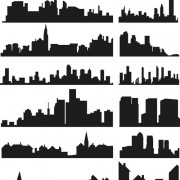 City building creative silhouettes design vector free