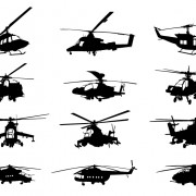 Creative military helicopter silhouette vector free