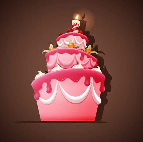 Cute birthday cakes free vector background 01 Free download