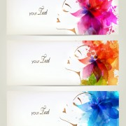Watercolor floral woman creative design 03 free