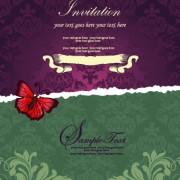 Floral retor Invitations background vector 04 free