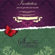 Floral retor Invitations background vector 04 free