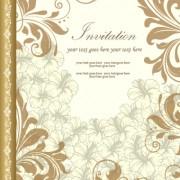 Retro style floral ornament invitation card vector 01 free