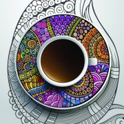 Ethnic pattern ornaments and coffee cups vector 02 free