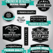 Retro Premium Quality Labels with Ribbon Vector 03 free