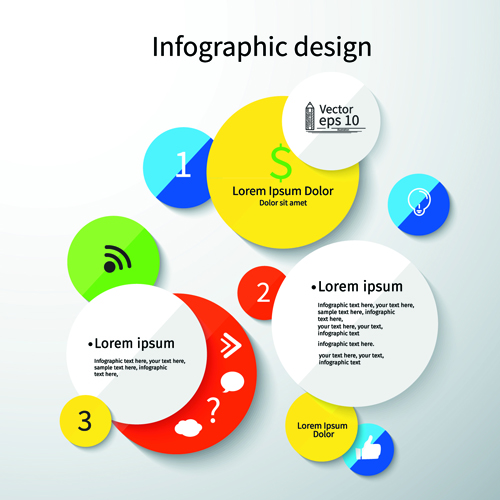 Colored round infographics design vector 05 free