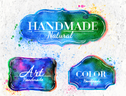 Creative watercolor labels vector 03 free