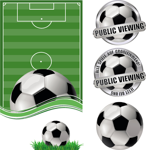 Football field with football labels vector 02 free
