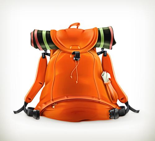 Orange travel backpack vector free