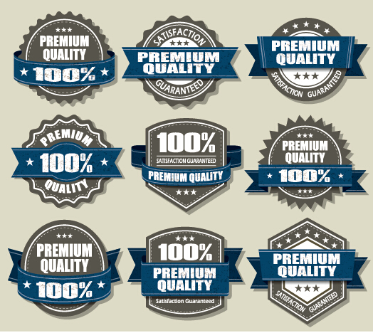 Premium Quality labels and blue ribbon vector free