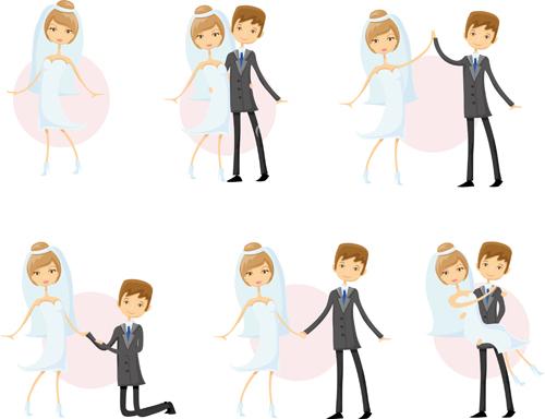 Romantic bride and groom design vector 03 free