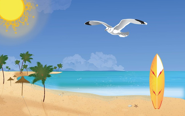 Summer Beach Vector Art free