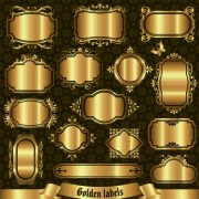 Blank golden labels creative vector free