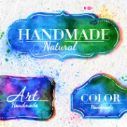 Creative watercolor labels vector  03 free