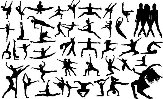 Ballet creative silhouettes vector free