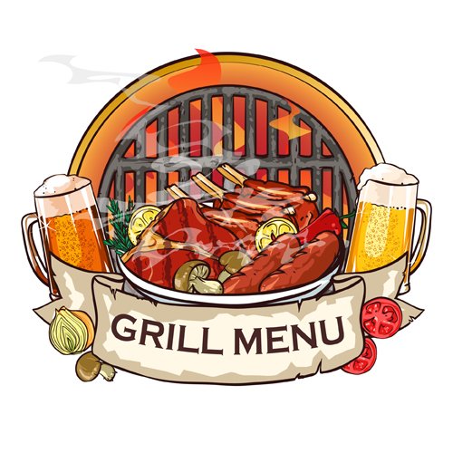 barbecue menu label creative vector 04 free