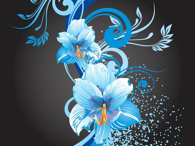 Blue Flowers Graphics vector free