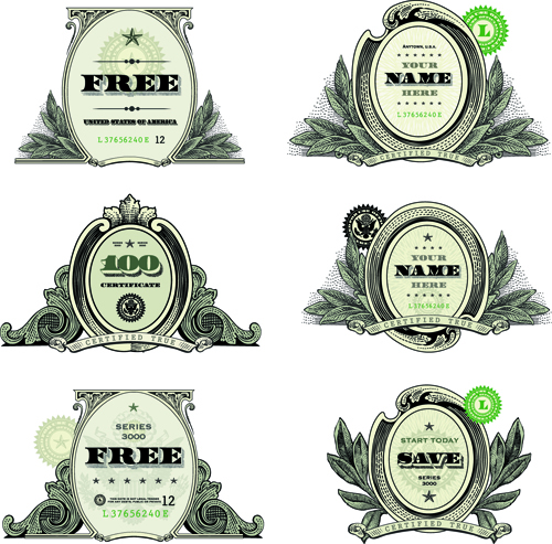 Classic financial labels vector graphics 05 free