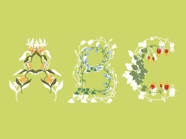 Floral Letters vector free
