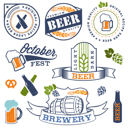 Retro beer labels vectors set 01 free