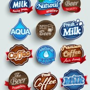 Different labels stickers creative vector set 06 free
