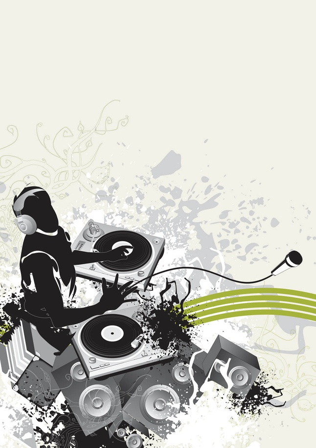 DJ Party Poster vector free