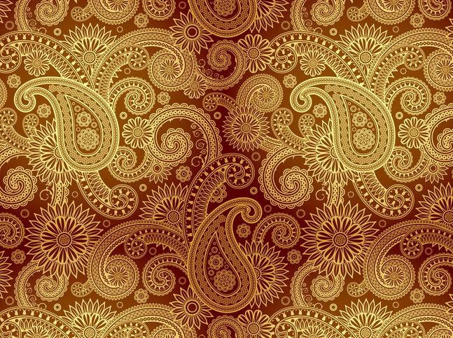 Golden Damask Pattern vector free