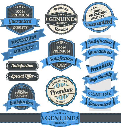 Retro premium quality ribbon labels vector 02 free