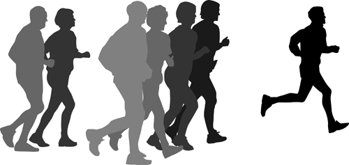 Running man design vector silhouettes graphics free