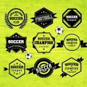 Creative football labels design vector graphics 05 free
