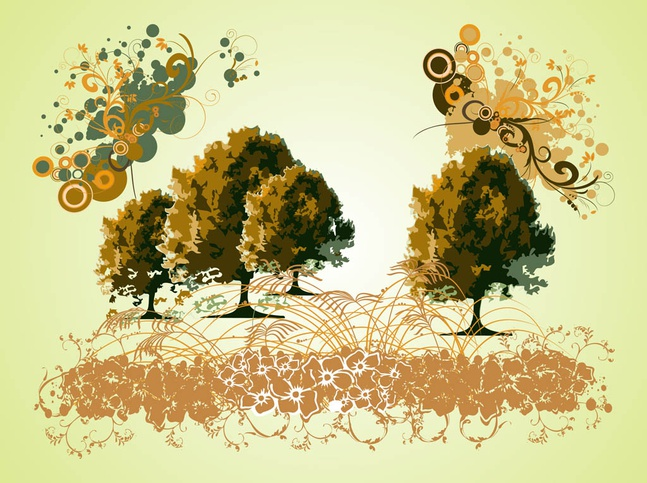 Trees And Swirls Graphics vector free