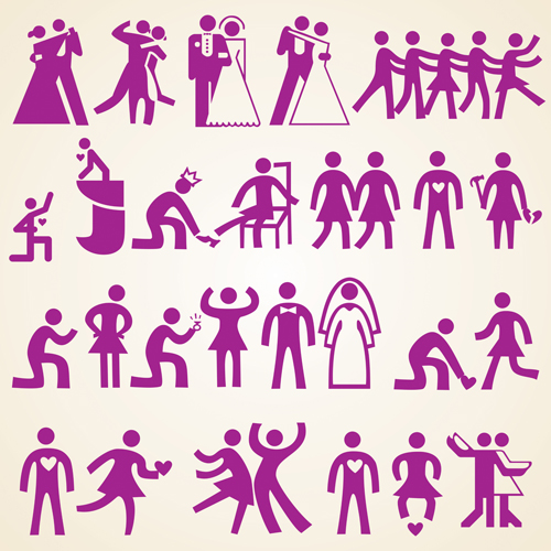 Wedding people silhouette design vector free