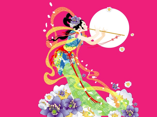 Beautiful Woman Playing Flute vector free