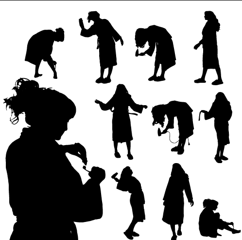 Creative cleaning woman silhouette design vector 02 free