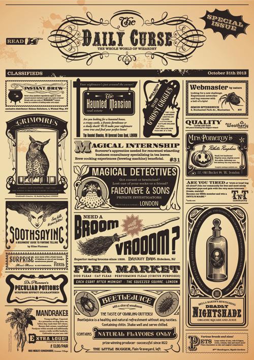 Creative newspaper design elements vector set 06 free
