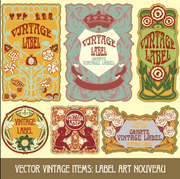 Ornate vintage labels creative vector set 07 free