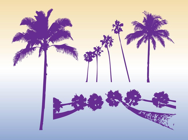 Palm Trees Silhouettes vector free