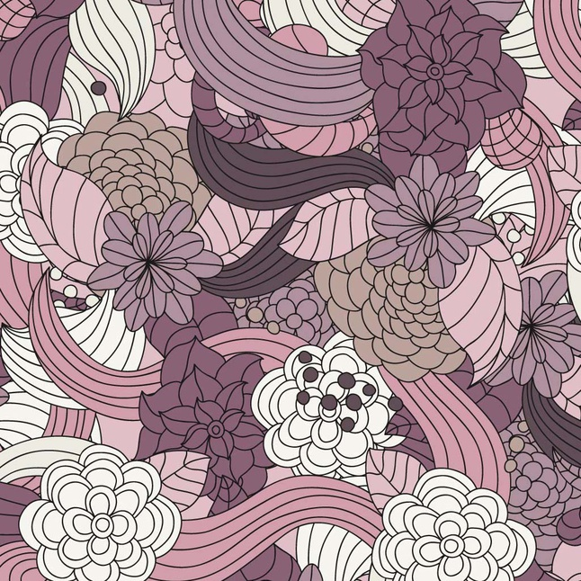 Romantic Flowers Vector Pattern free