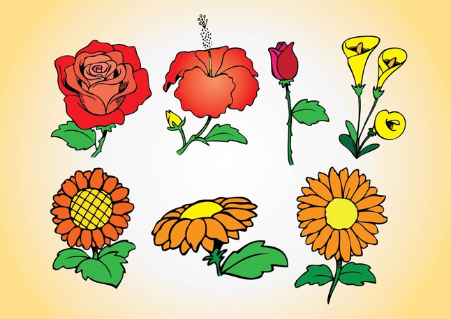 Spring Flowers Collection vector free