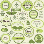 Green natural labels design vector 02 free