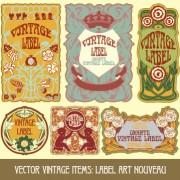 Ornate vintage labels creative vector set 07 free