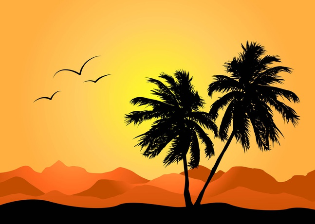 Tropical Landscape vector free